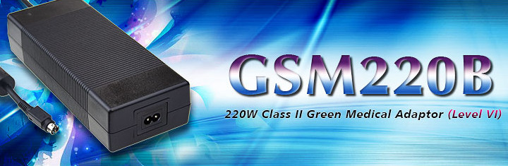 GSM220B Series (220W Class II Green Medical Adaptor (Level VI))